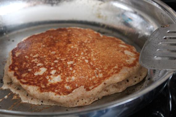 pancake in stainless steel pan