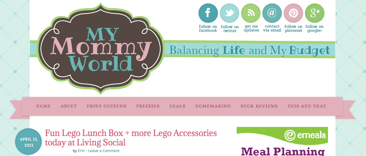 my mommy world blog design