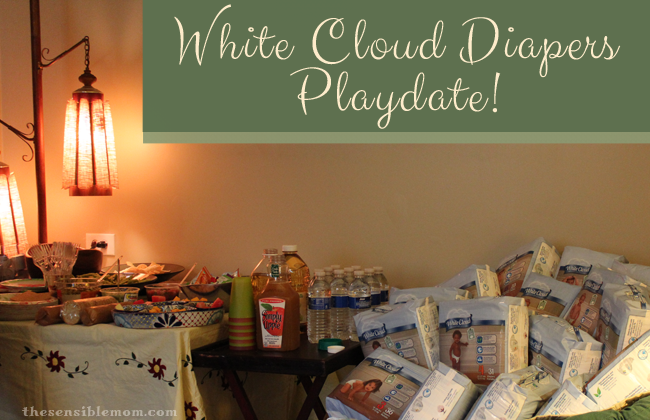white cloud  diapers playdate