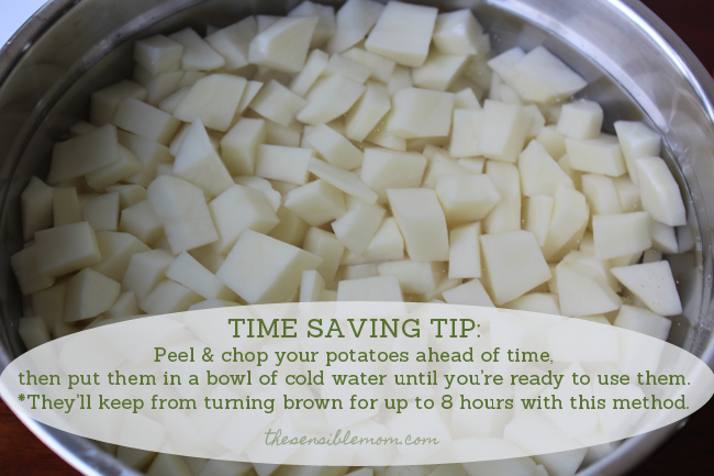 tip for keeping potatoes from turning brown