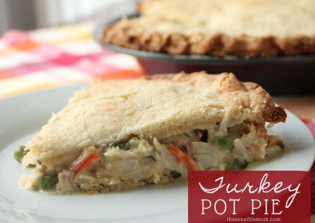 Need a great way to use up leftover turkey? Try this fantastic Turkey Pot Pie recipe! The crust is flaky and delicious, too. So good!