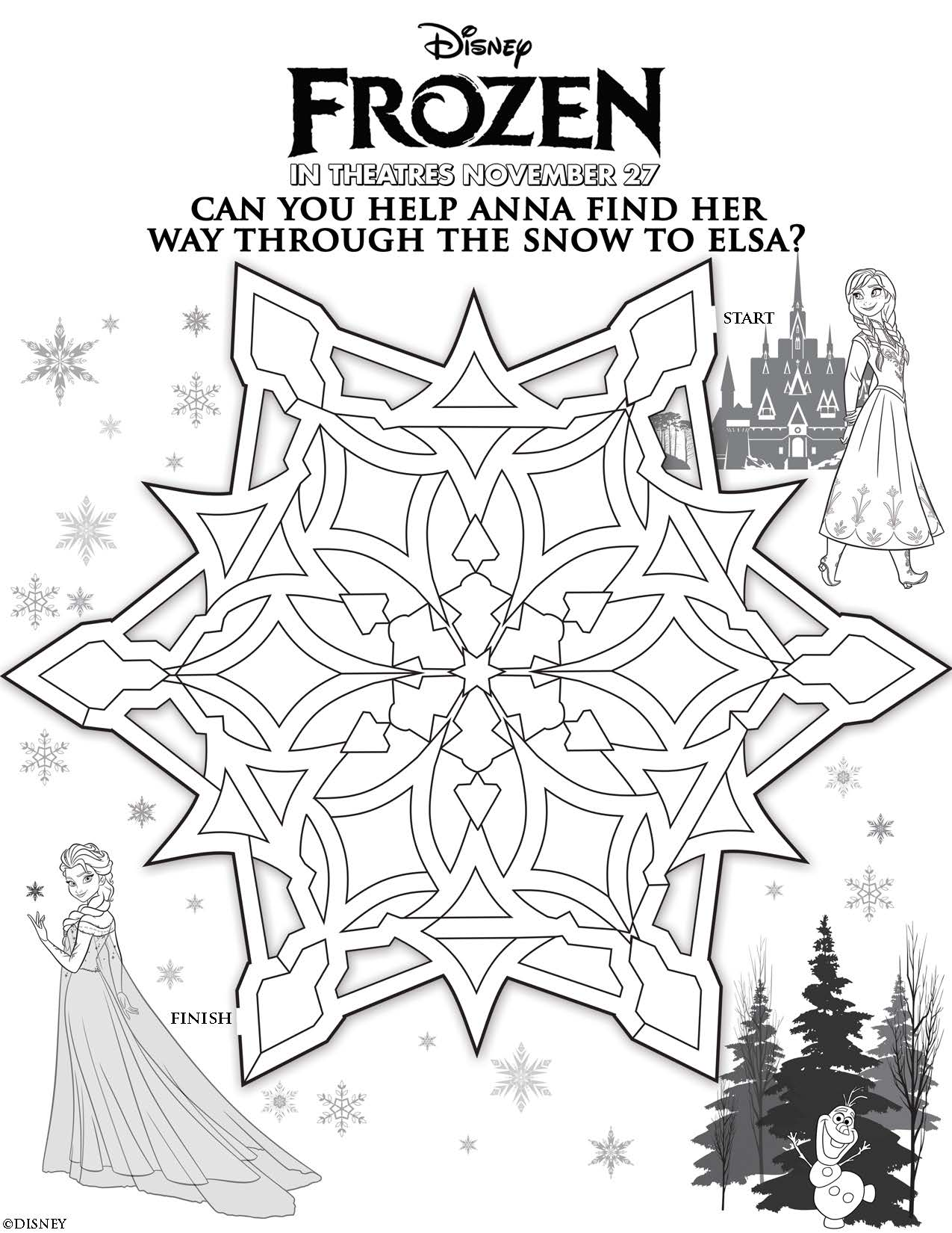 Disneys FROZEN Printable Activities And Games For Kids