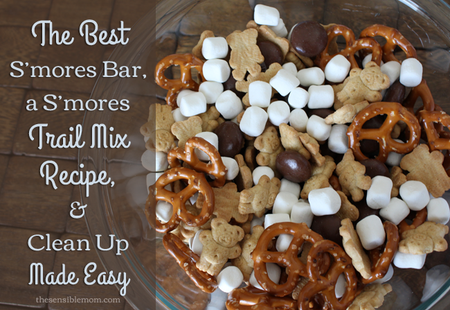 The Best S'mores Bar, a S'mores Trail Mix Recipe, and Clean Up Made Easy! #showusyourmess #smores #ad