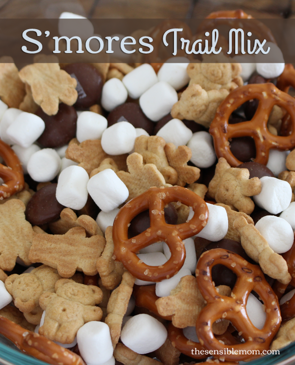 Try this super easy and fun S'mores Trail Mix Recipe. It's ready in minutes and great for parties! #smores #showusyourmess #PMedia #ad