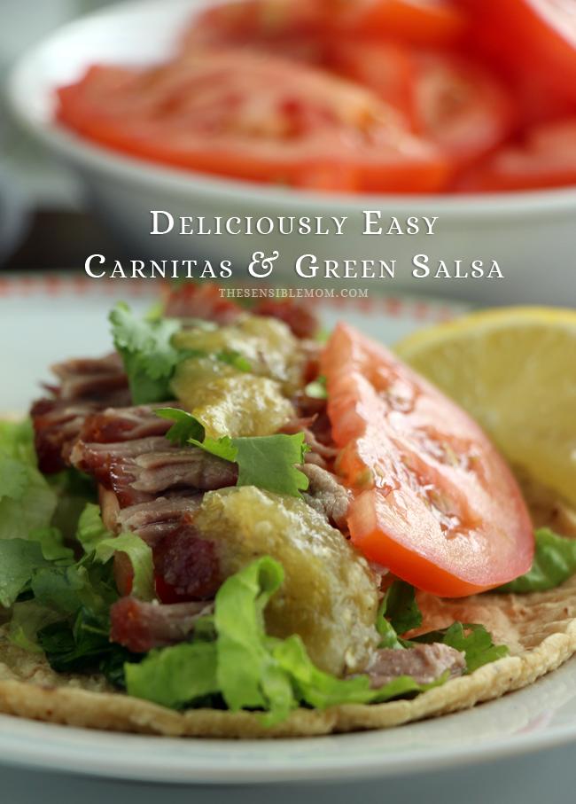 Deliciously Easy Carnitas Recipe and Green Salsa made with Kikkoman #carnitas #KikkomanSabor