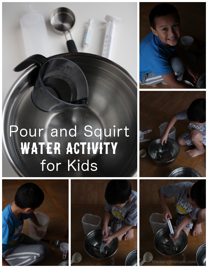 Here's a super easy and fun Pour and Squirt Water Activity for Kids! #homeschool #fun #kids