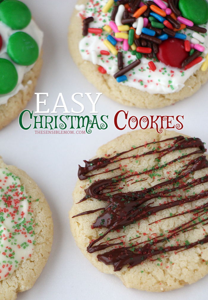 This is a recipe for deliciously easy Christmas Cookies! Use sprinkles, melted chocolate (white & milk chocolate), colored sugar, M&Ms, and frosting to really have fun with this recipe! Seriously, good! #Christmas #holiday #cookies #ChristmasCookies #easy #recipe